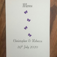 Personalised Wedding Menu Cards, Choice of colours, Butterfly design.