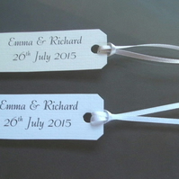 10 Personalised Wedding Favour, Gift Box Tags White or Ivory Linen Card.