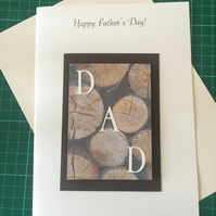 Fathers Day Or Birthday Card Wood Design Tree Trunks Logs A5 Size