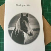 Thank you, Birthday or Retirement card, Horse. Any Relation or Name, Monochrome