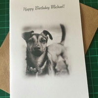 Thank you, Birthday or Retirement card, Jack Russell Dog. Any Relation or Name