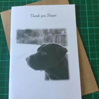 Thank you, Birthday or Retirement card, Labrador. Any Relation or Name