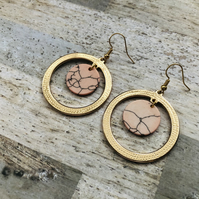 Gold Plated Open Hoops With Pink Disc Bead