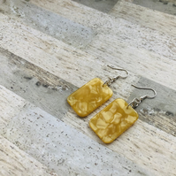 Silver Plated Rectangular Yellow Resin Statement Earrings