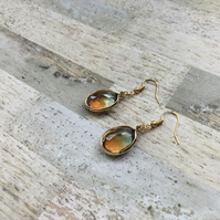 Gold Plated Ombré Stone Drop Earrings