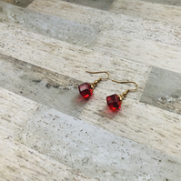 Gold Plated Red Glass Cube Earrings