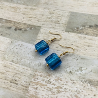 Gold Plated Blue Square Glass Bead Earrings