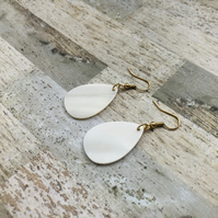 Gold Plated Natural Shell Teardrop Shape Earrings