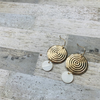 Gold Plated Disc Earrings With Mother Of Pearl
