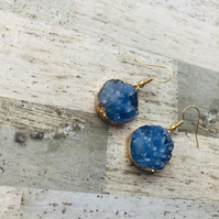 Gold Plated Round Druzy Style Blue Drop Earrings