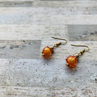 Gold Plated Orange and Gold Drop Earrings