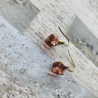 Gold Plated Blush Pink Glass Cube Earrings