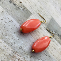 Gold Plated Large Marbled Coral Pink Statement Earrings