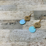 Gold Plated Spiral With Turquoise Sequin Dangle Earrings
