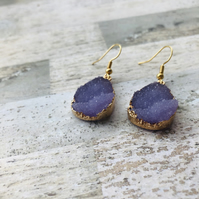 Gold Plated Lilac Druzy Style Drop Earrings