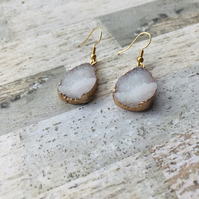 Gold Plated White Druzy Style Drop Earrings