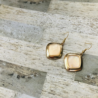 Gold Plated Diamond Shape Statement Earrings