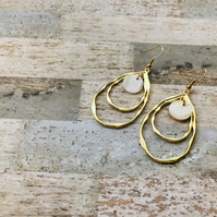 Gold Plated Double Hoop & Shell Drop Earrings