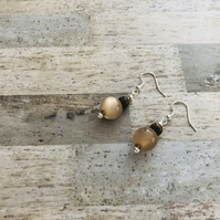 Silver Plated Semi Precious Tigers Eye & Glass Bead Drop Earrings