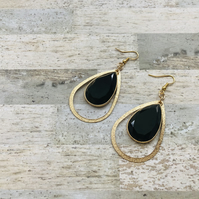 Gold Plated Large Black Faceted Stone & Hanging Hoop Earrings