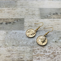 Gold Plated Roman Coin Drop Earrings