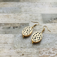 Gold Plated Wooden Bead Hand Painted Polka Dot Earrings