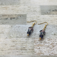 Gold Plated Semi Precious Amethyst Drop Earrings