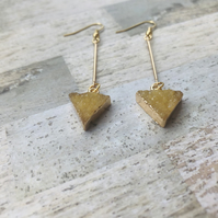 Gold Plated Long Druzy Style Triangular Charm Earrings