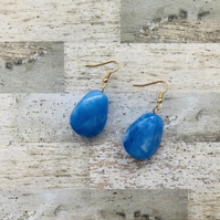 Gold Plated Large Blue Marbled Bead Earrings