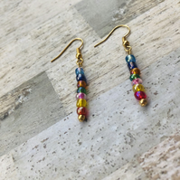 Gold Plated Rainbow Beaded Drop Earrings