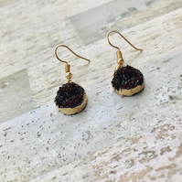 Gold Plated Druzy Style Dark Red Drop Earrings