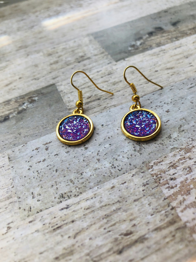 Druzy Style Purple Round Charm Drop Earrings