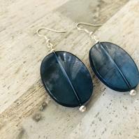 Silver Plated Blue Acrylic Upcycled Statement Bead Earrings