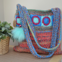 Attractive Peach Bag With Turquoise Squares