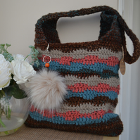 Gorgeous Chocolate Brown Bag with Beige, Blue and Pink