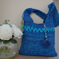 Bright Blue Glitter Bag With Shell Pattern