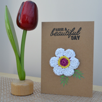 Greeting card with white crochet flower - No. 13