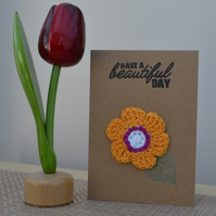 Greeting card with orange crochet flower - No. 12