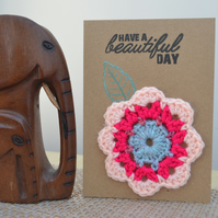 Greeting card with pink crochet flower - No. 16