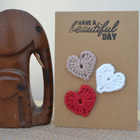 Greeting card with crochet hearts - No. 15