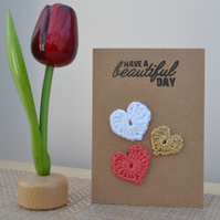 Greeting card with crochet hearts - No. 19