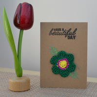 Greeting card with green crochet flower - No. 20