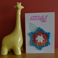 Greeting card with blue edged crochet flower - No. 01