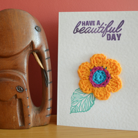 Greeting card with orange crochet flower - No. 04