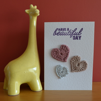 Greeting card with crochet hearts - No. 05