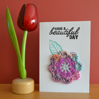 Greeting card with multi-colour crochet flower - No. 08