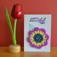 Greeting card with purple & yellow crochet flower - No. 07