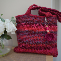 Vibrant Red And Pink Stripe Bag