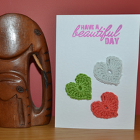 Greeting card with crochet hearts - No. 10