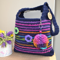 Colourful Navy Stripe Bag With Flowers